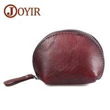 JOYIR Genuine Leather Coin Purse Woman Men Vegetable Tanned Leather Wallet Coin Holder Shell Zipper Coin Bag Mini Purse Bag K005