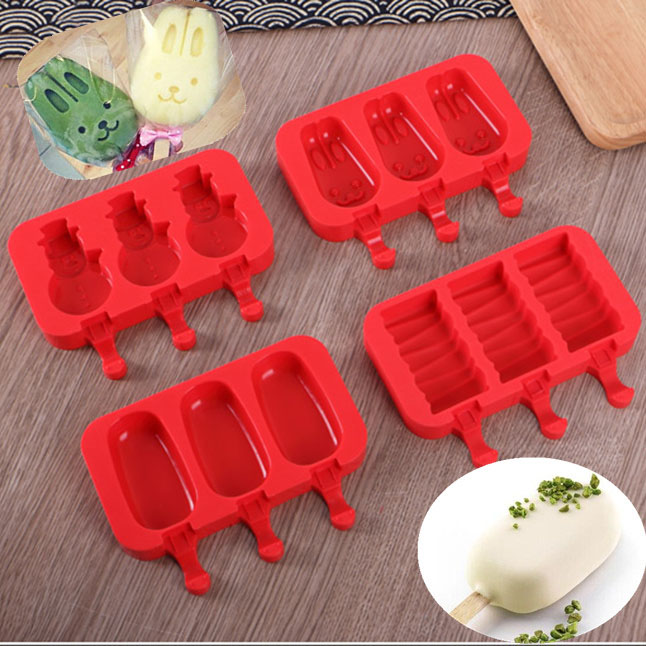 3 holes Oval Ellipse Shape Silicone Ice Cream Mold Rabbit Popsicle Molds Ice Tray Cube Tools