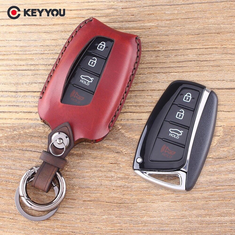 KEYYOU Clé Shell Clé De Voiture Cas Fob 4 Boutons En Cuir Véritable pour Hyundai Genesis Santa Fe Equus Azera Solaris Ix35 Ix45 Accent