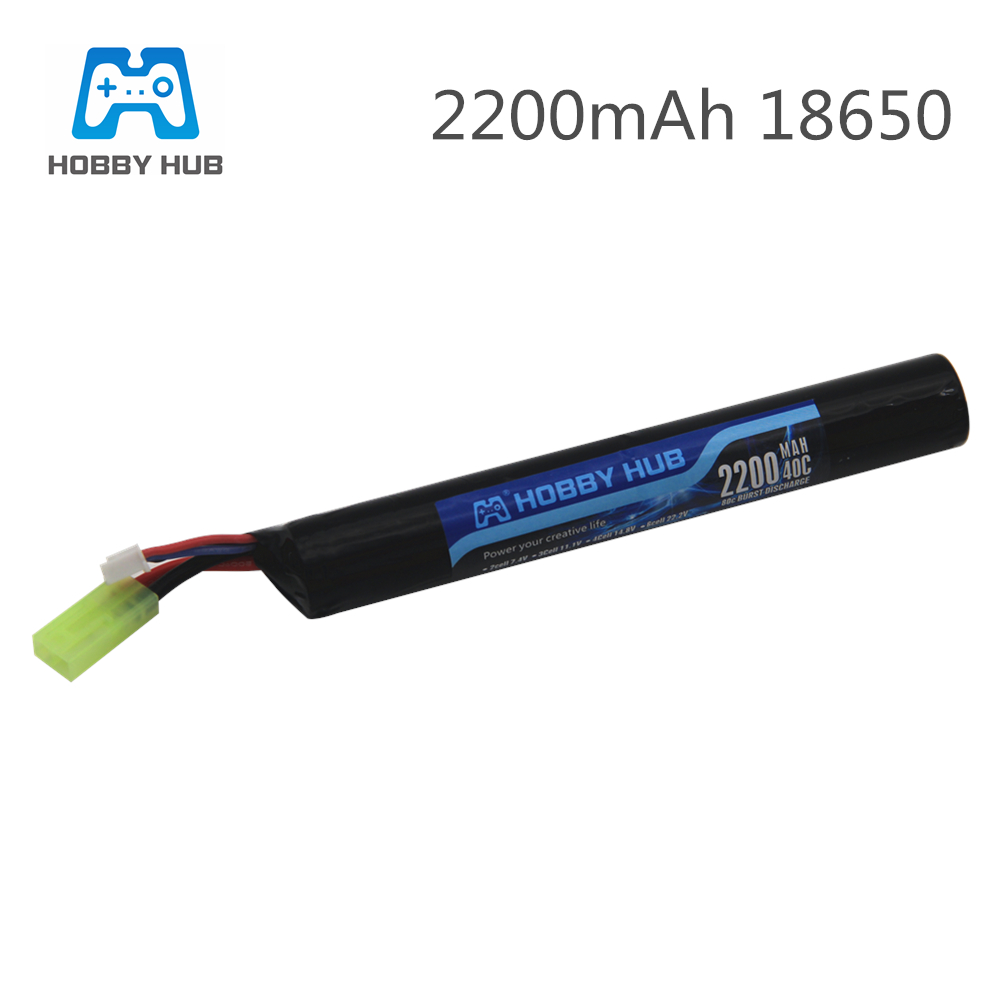 Hobby Hub Power Lipo <font><b>Battery</b></font> Airsoft gub <font><b>battery</b></font> <font><b>7.4V</b></font> <font><b>2200MAH</b></font> 40C AKKU Mini Airsoft toys Gun <font><b>Battery</b></font> model parts image