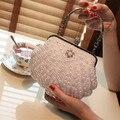 white/ivory pearl bag women's handbag evening bag day clutch small  handbag bride and bridesmaids party bag with handle
