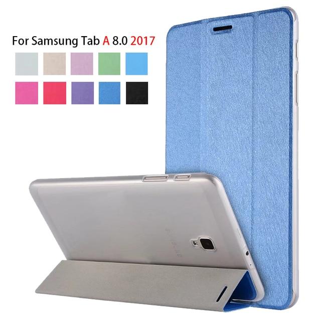 Cubierta de la caja para Samsung Galaxy Tab A 8,0 de 2017 SM-T380 T385 PU Slim soporte inteligente caso para Galaxy Tab funda para tableta 8,0 T380