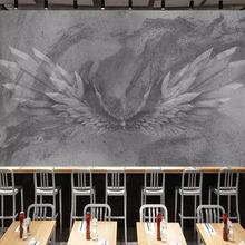 Custom Mural Wallpaper Retro Grey Cement Wall Angel Wings Abstract Art Wall Painting Hotel Restaurant Cafe Bar Wall Decoration large metal angel wings with led lights vintage ancient iron retro wings wall decoration bar cafe wall home decor accessories