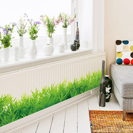 levendige groene plant muursticker interieur plint lijn woonkamer slaapkamer muurdecoratie tuin bank raamdecoratie