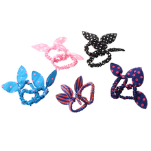Fashion 10pcs Women's Rabbit Ear Hair Tie Bands Korea Style Ponytail Holder