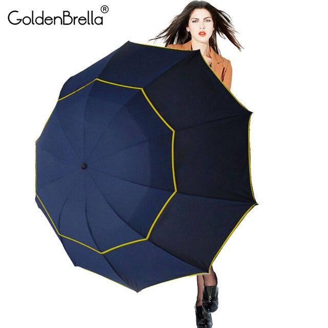 Brand Super Big 130cm 2 Layer Umbrella Folding Women Rain 10Ribs Windproof Paraguas Fashion Business Men Outdoor Strong Umbrella