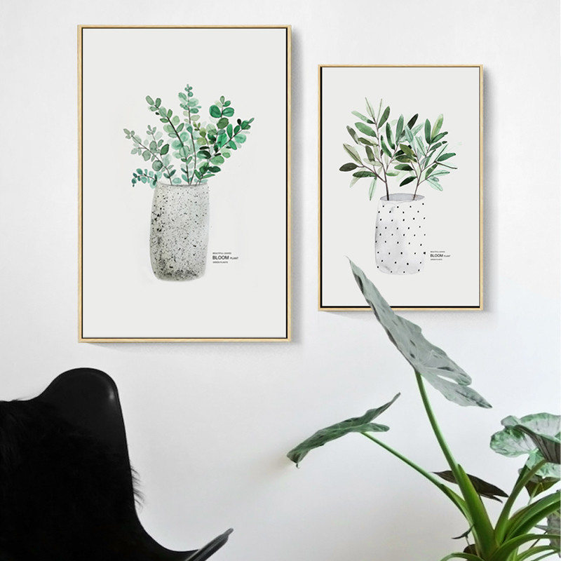 green plant wall art poster canvas painting watercolor botanical print art wall pictures use Nordic Bedroom decoration DH2512 in Painting Calligraphy from Home Garden