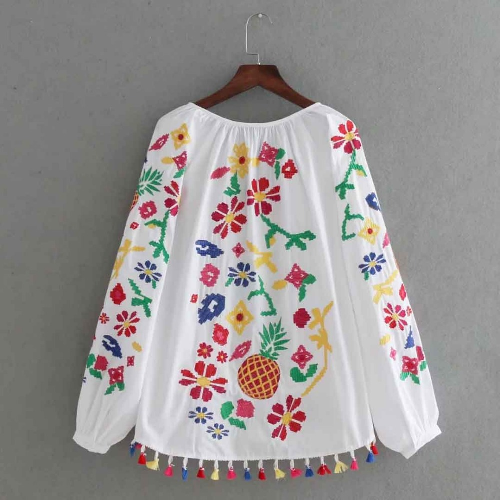 Vintage Embroidery Shirts Women Tunic Summer Clothing Loose Long Sleeve  Lace up Fringes White Cotton Ethnic Blouse Shirt Blusas-in Blouses   Shirts  from ... ec094df996