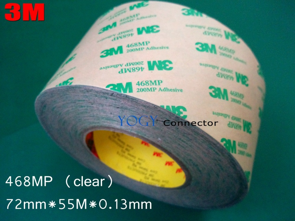 3M 468MP, (72mm*55M*0.13mm)  200MP Double Sided Adhesive Tape, High Temperature Withstand,  for Nameplate, Automotive Industry 3m 468mp 43mm 55m 0 13mm double sided adhesive tape 200mp metals paints wood bonding together for automotive appliance