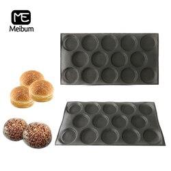 Meibum 14 wnęka czarny porowaty silikonowe formy Cookie Bun Hamburger Mold okrągły mleczny taca na chleb nieprzywierająca pieczenia narzędzia do pieczenia