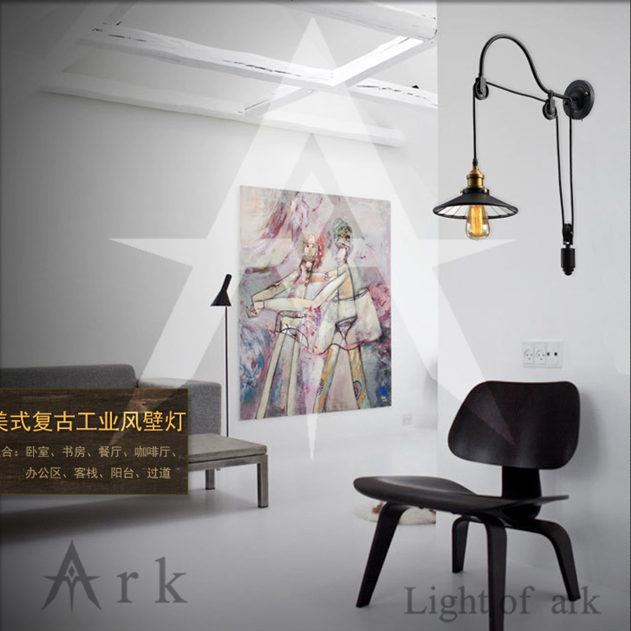 цена на ark light Creative black lift wall Sconce Vintage Wall Lamp Fashion Lighting American Style Lift Retractable Pulley Wall Lamp