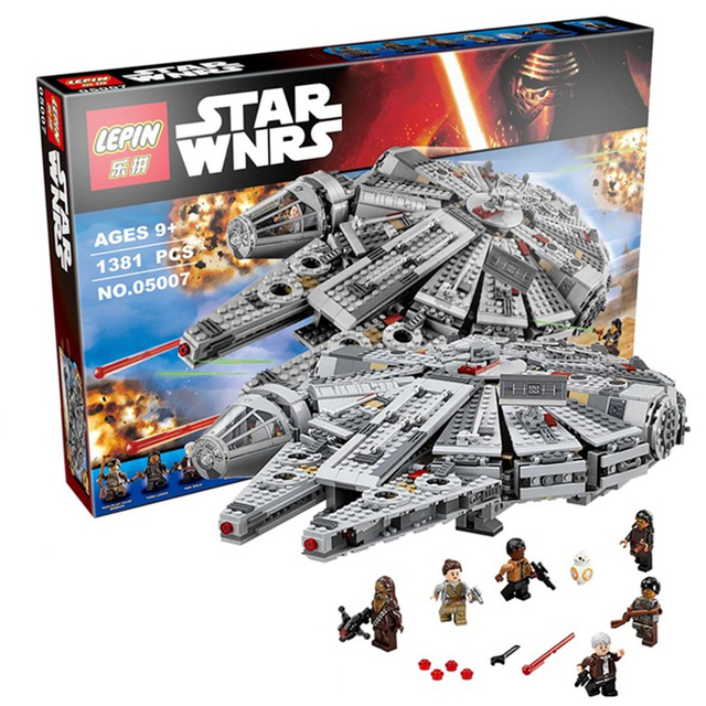 LEPIN 05007 1381 Unids Fuerza Despertar de Star Wars Halcón Milenario 7 Lepin Lepin Ladrillos de Construcción Bloques Juguetes de Star Wars Juguetes