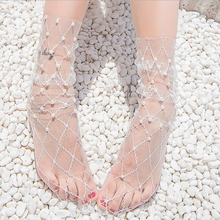 Summer White Tulle Pearl Socks Women Thin Transparent Mesh Sexy Long Breathable Funny Female Dress Hosiery Street