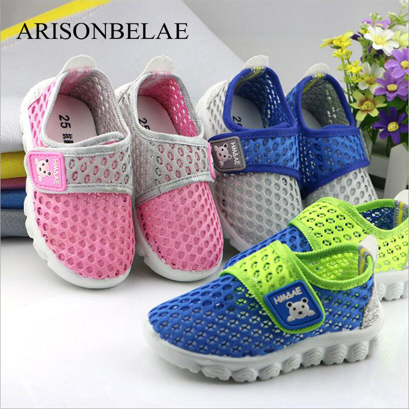 Children Shoes Tennis Girls Boys Mesh Kids Sneakers Casual Sport Breathable Animal Bear Kids Spring Autumn Flat School Shoes
