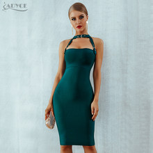 ADYCE 2019 New Bandage Dress Women Black Red Bodycon Party Dresses Hollow Out Metal Button Midi Celebrity Runway Dress Vestidos(China)