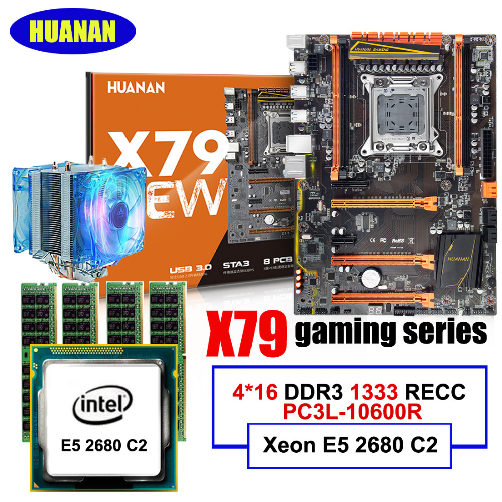 HUANAN deluxe X79 LGA2011 motherboard CPU RAM combos set Xeon E5 2680 C2 RAM 64G(4*16G) DDR3 1333MHz RECC with CPU cooler huanan x79 motherboard cpu ram combos with cooler v2 49 x79 lga2011 processor xeon e5 2680 v2 ram 16g 4 4g ddr3 recc all tested