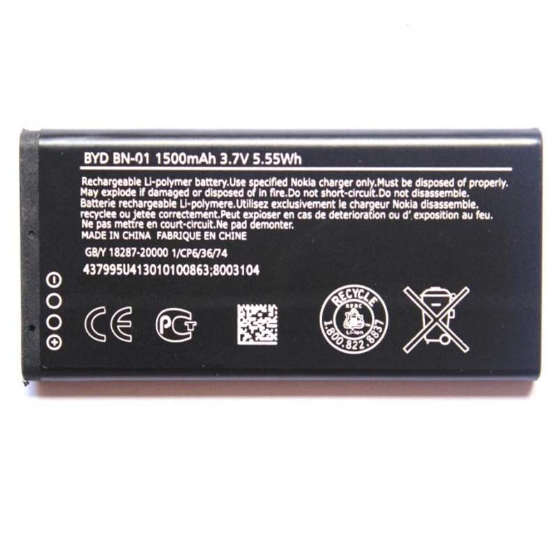 Original High Capacity BN-01 phone battery for Nokia Lumia X X Plus 1045 <font><b>RM</b></font>-980 X2 <font><b>1013</b></font> BN-01 1500mAh image
