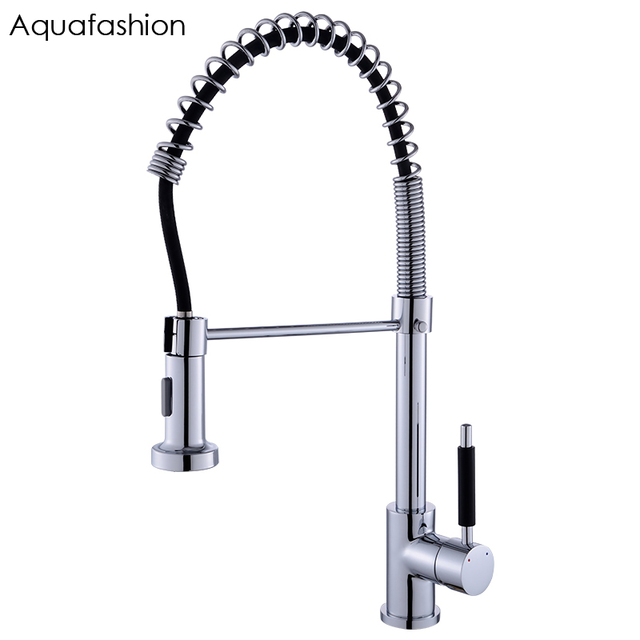Commercial Style Spring Kitchen Faucet Mixer Pull Down Flexible Kitchen Tap  360 Degree Swivel Spout Kitchen