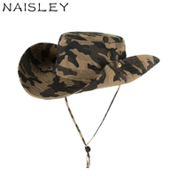 NAISLEY Camouflage Bucket Hats Military Hiking Fishing Men Hat Wide Brim Boonie Hat UV Protection Cap Men Hip Hop Dad Cap New