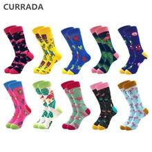 10 paren/partij Merk Kwaliteit Mannen Gelukkig Sokken Gekamd Katoen kleurrijke Grappige Sokken Hot Koop fashion Casual lange Heren compressie sokken