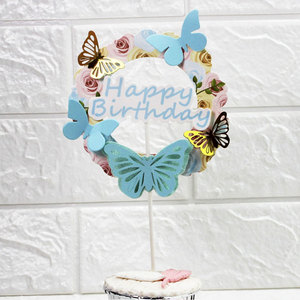 Image 3 - Pink Blue Paper Butterfly Garland Cake Toppers Happy Birthday LOVE Cake Top Decor Birthday Wedding party Supplie