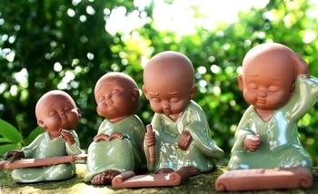 "Marvellous # TOP ART OFFICE home Zen Buddhism "" Four Arts "" Little Monk Ge Yao kiln porcelain pottery ART- business gift"