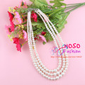 Free Shipping Hot Sell Simulated Pearl Necklace for Women Fashion Choker Three Strings Necklaces Statement Jewelry