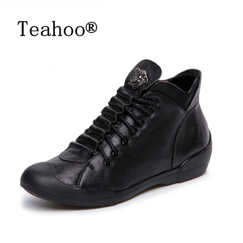 Teahoo Ankle Boots for Women Shoes Martin Boots Black