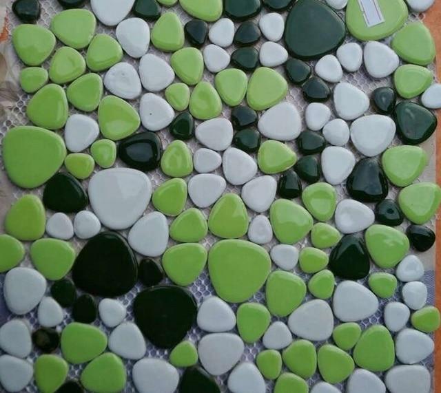 Versand kostenlos!! schöne grüne kiesel keramik-mosaik-fliesen, badezimmer wand-und bodenfliesen, schwimmbad mosaik fliesen, HME7010