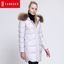 2016 new hot winter Thicken Warm woman Down jacket Coats Parkas Hooded Raccoon Fur collar End long plus size 2XXL Straight