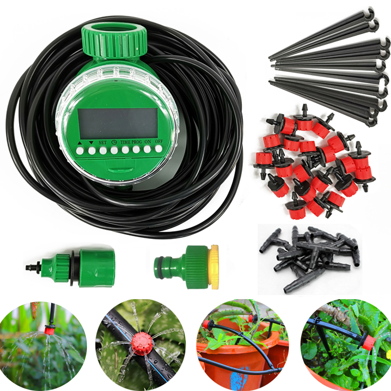 10M/20M/40M DIY Drip Irrigation System Automatic Watering Garden Hose Micro Drip Garden Watering Kits with Adjustable Drippers