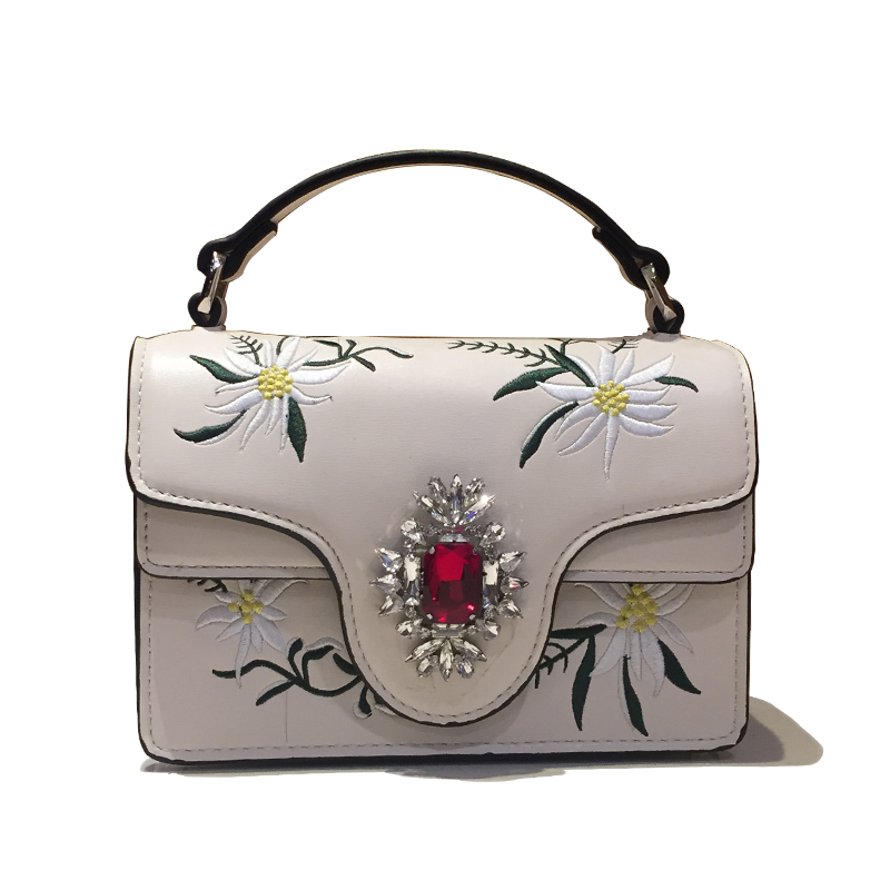 2017 New Fashion Women Fine Diamonds Handbags Lady Real Leather Bags Woman Embroidery Flowers Hand Bag Messenger Party Tote Bags lady handbags women messenger black bags genuine leather circular cowhide ladies mini luxurious diamonds new year party bag