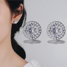 Everoyal Fashion Silver 925 Girls Earrings Accessories For Female Bijou Exquisite Crystal Round Stud Women Jewelry