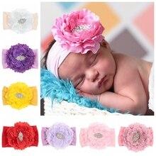 New Newborn Toddler Baby Girls Headwraps Peony Flower with Rhinestone Knot Nylon Turban Headband Hair Accessories