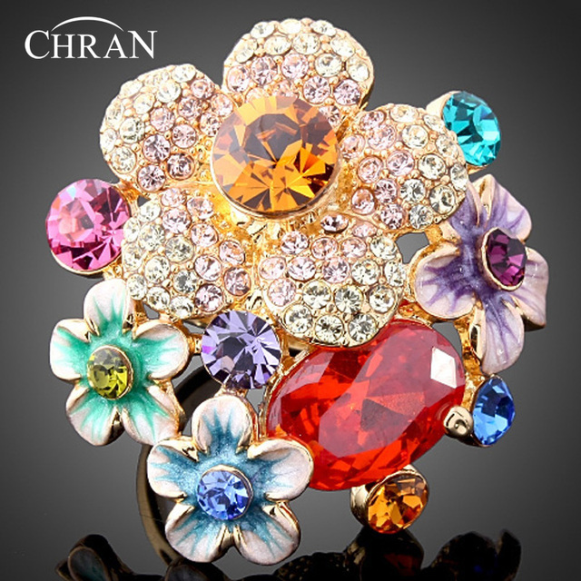 Chran New Rhinestone Austrians Crystals Gold Color Red Color Flower Fashion Ring Jewelry Gifts for Women Free Shipping