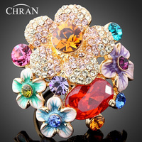 High Quality Promotion Flower Rhinestone Austrians Crystals Fashion Ring Jewelry For Women Free Shipping Dragon DFDR0008