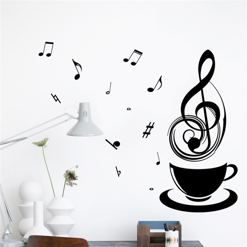 Coffee Cups Cafe Tea Music Note Wall Stickers Art Vinyl Decal Kitchen Restaurant Pub Home Decor Mural Wallpaper Relax