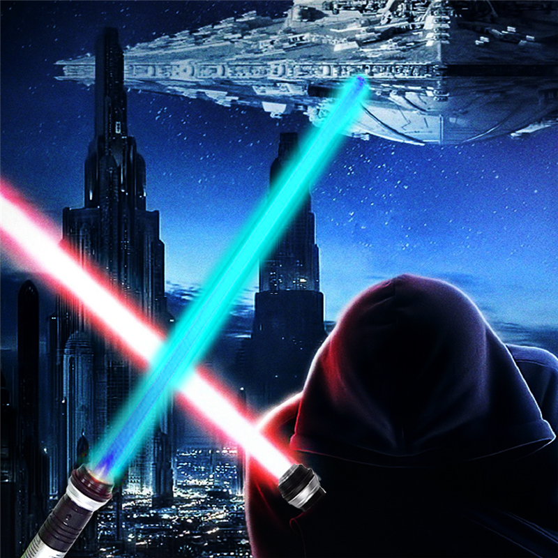 2PCS Colorful Star Battle Wars Light Sword Double Lightsaber Props with Sound Light Saber Glowing Toy Sword Children Kids Gifts 2pcs cosplay star wars lightsaber sound telescopic led flashing light sword toys weapons sabers pvc action figure toy gifts boys