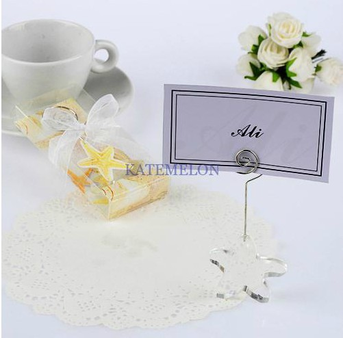crystal starfish wedding place card holder 10pcslot free shipping table name picture holder