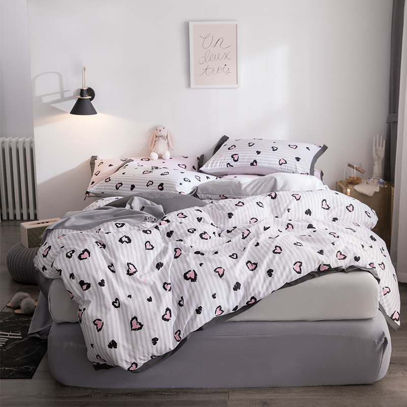 Home Textile cute Simple White Bedding Sets Kid Teen Boy Linen Duvet Cover Pillowcase Bed Sheet Girl Adult queen king BedclothesHome Textile cute Simple White Bedding Sets Kid Teen Boy Linen Duvet Cover Pillowcase Bed Sheet Girl Adult queen king Bedclothes