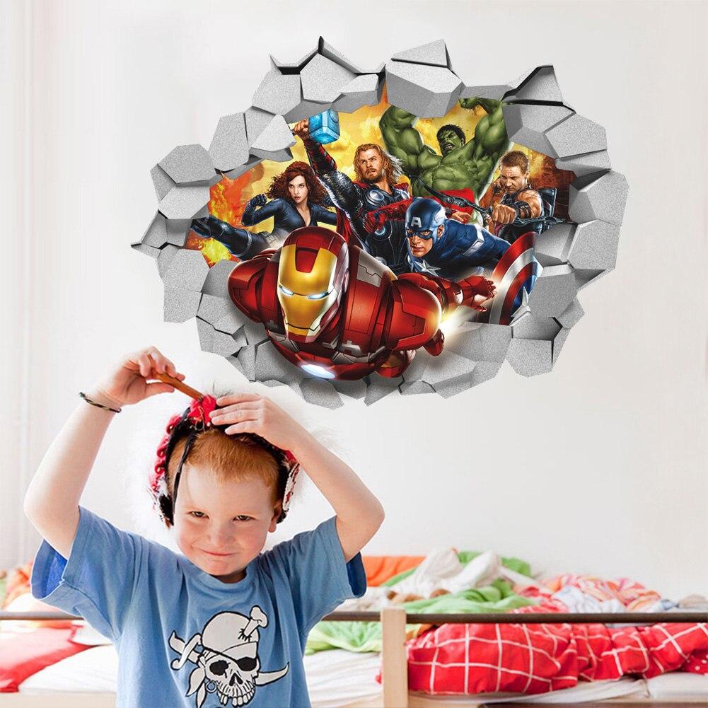 Stickers Pour Fenetre Chambre les avengers fracassé mur 3d fenêtre décalcomanie amovible graphique mur  autocollant pour enfants bébé pépinière chambre garçons cadeau affiche décor