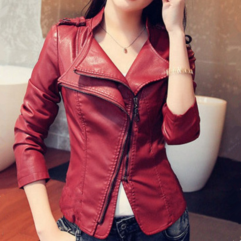 Faux PU   Leather   Jacket Women Red Black Winter Autumn Ladies Bomber Jacket Coat Casual Slim Short Fashion Zipper Brand Outerwear