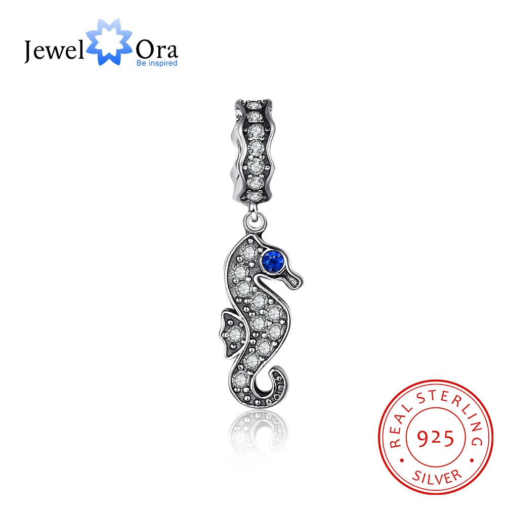 Sea Horse Design 925 Sterling Silver Jewelry Components With CZ Stone DIY Charm For Bracelets & Bangles (JewelOra AS101584)