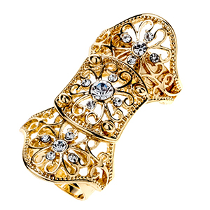 Floral double finger knuckle armor ring for women crystal punk fashion jewelry antique silver gold color RM15wholesale dropship