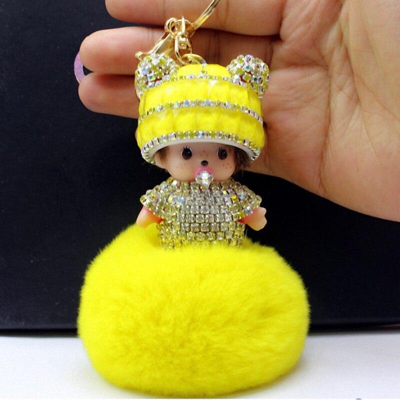 Chapeau Monchichi Clé Chaîne Sleutelhanger Strass Porte-clés Moelleux Ribbit Boule De Fourrure Pom Pom Femmes Sac Charme Porte Clef K002-yellow