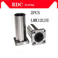 2 pcs LMK12LUU 12mm High quality long type flange bearing linear bush 3d priter XYZ CNC parts LMK12L for 12mm linear guide rail