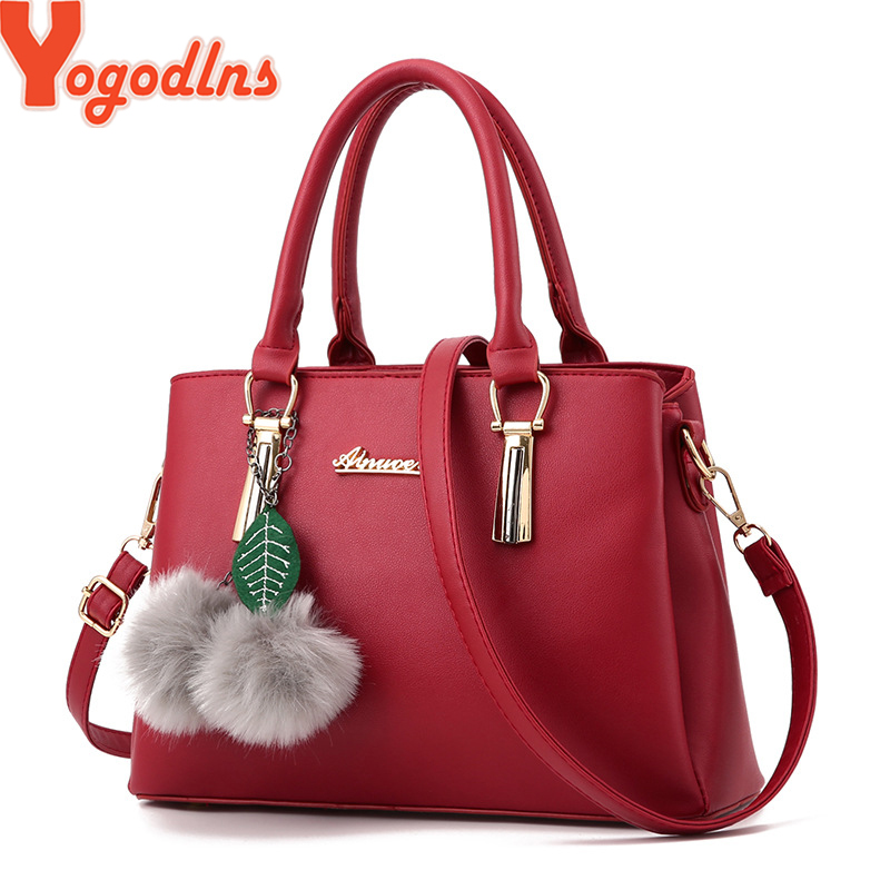 Yogodlns Women Fur Ball Ornaments Totes Zipper Medium Handbag Hotsale Lady Party Purse New Shoulder Messenger Crossbody Bags