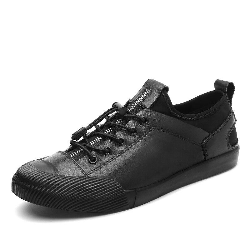 Estilo Primavera Outono branco Preto Couro Sapatos prata Up Novo Homens Calçados De Estudante Genuíno Confortáveis Flats Lace Casuais rdrWcqET