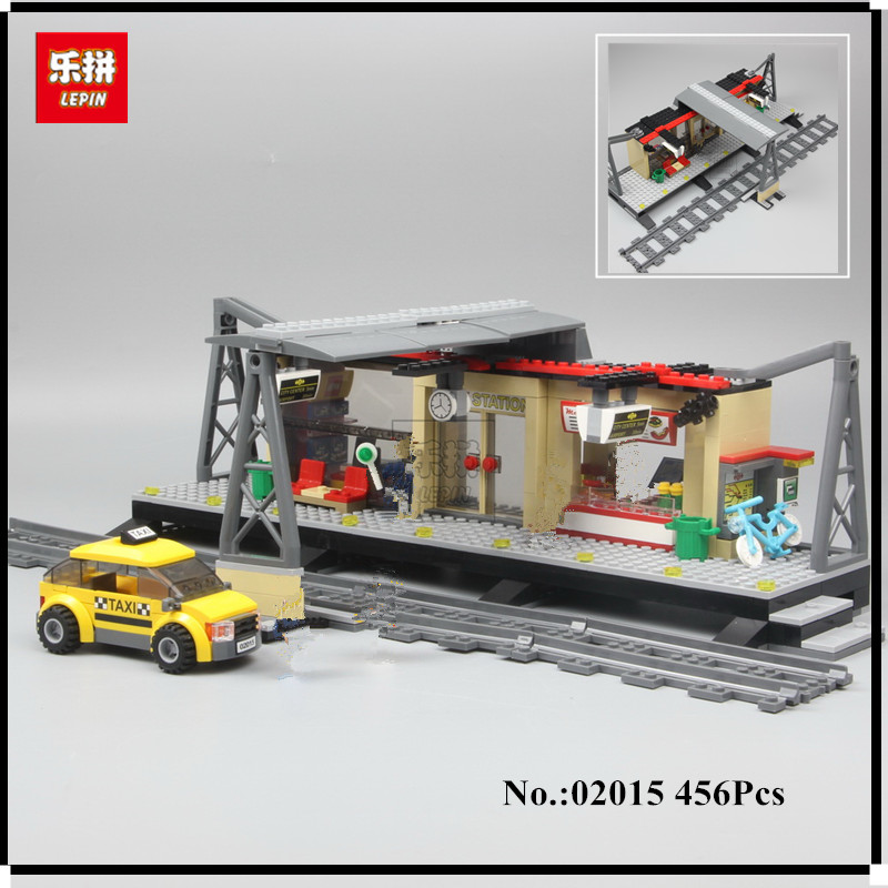 IN STOCK Lepin 02015 City Trains Train Station with Rail track Taxi 456Pcs Building Block Set Boys Model Brick Toy 60050 power trains набор с краном 48627
