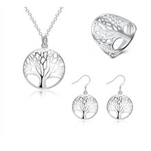Jewelry Sets for Women Tree of Life Totem Pendants Necklace Earrings Ring Silver 925 Sets Bridal Wedding Jewellery set Wholesale(China)